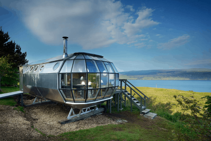 AirShip exterior with the large windows - a romantic getaway in Scotland.