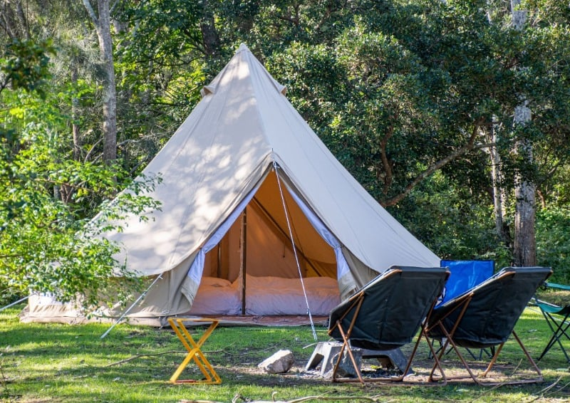 Bell tents make a great glamping experience in the garden