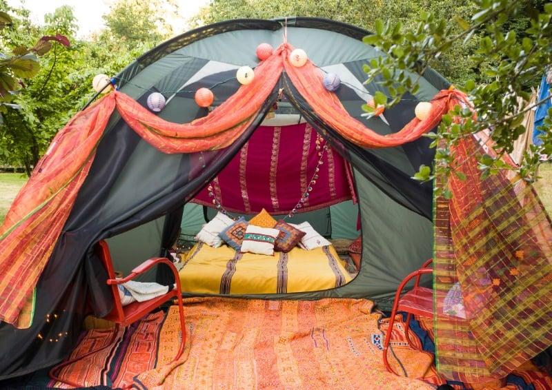 Glamping in the garden with a decorated tent