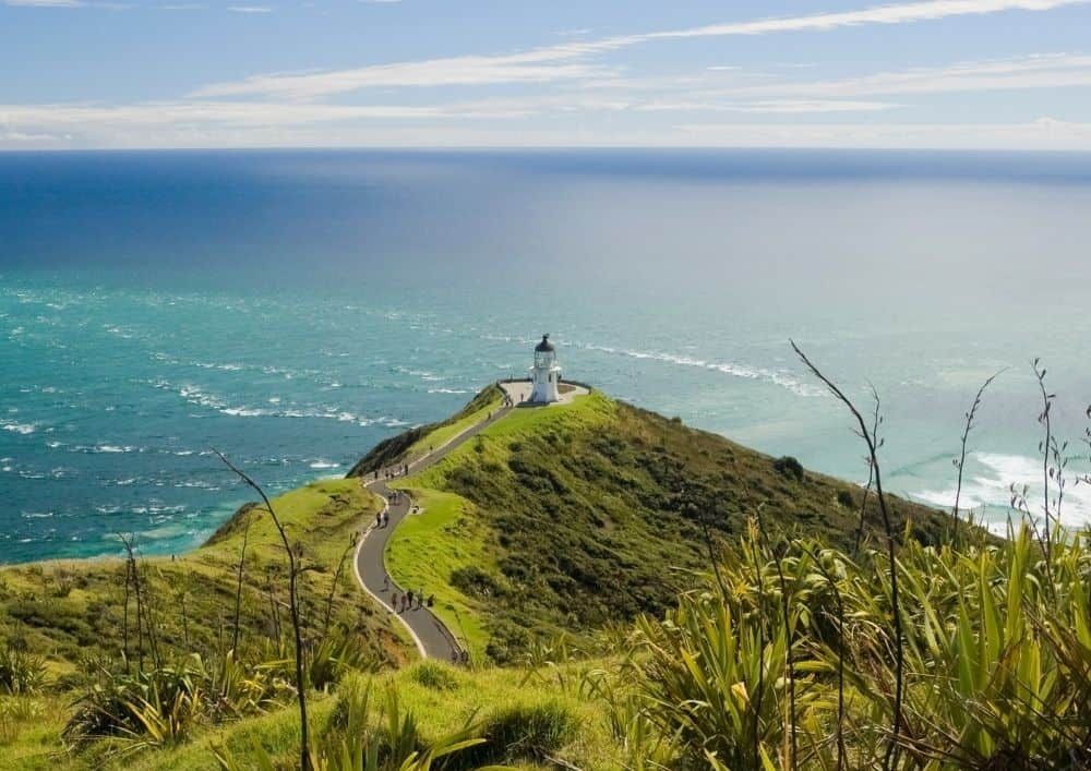 View of Cape Reinga with the lighthouse in the distance.