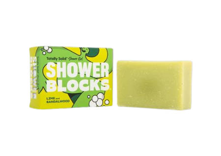 Product image of a solid shower gel bar.