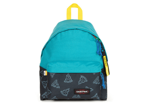 Blue and black Eastpak Resist Waste backpack made from fabric scraps.