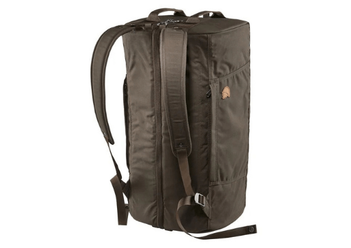 Fjallraven splitpack backpack in green with a fox logo.