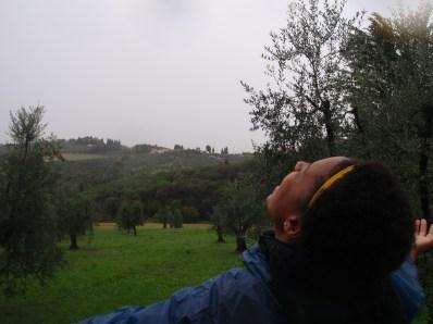 Enjoying the rain after the Olive Festival! - Impruneta, Italy