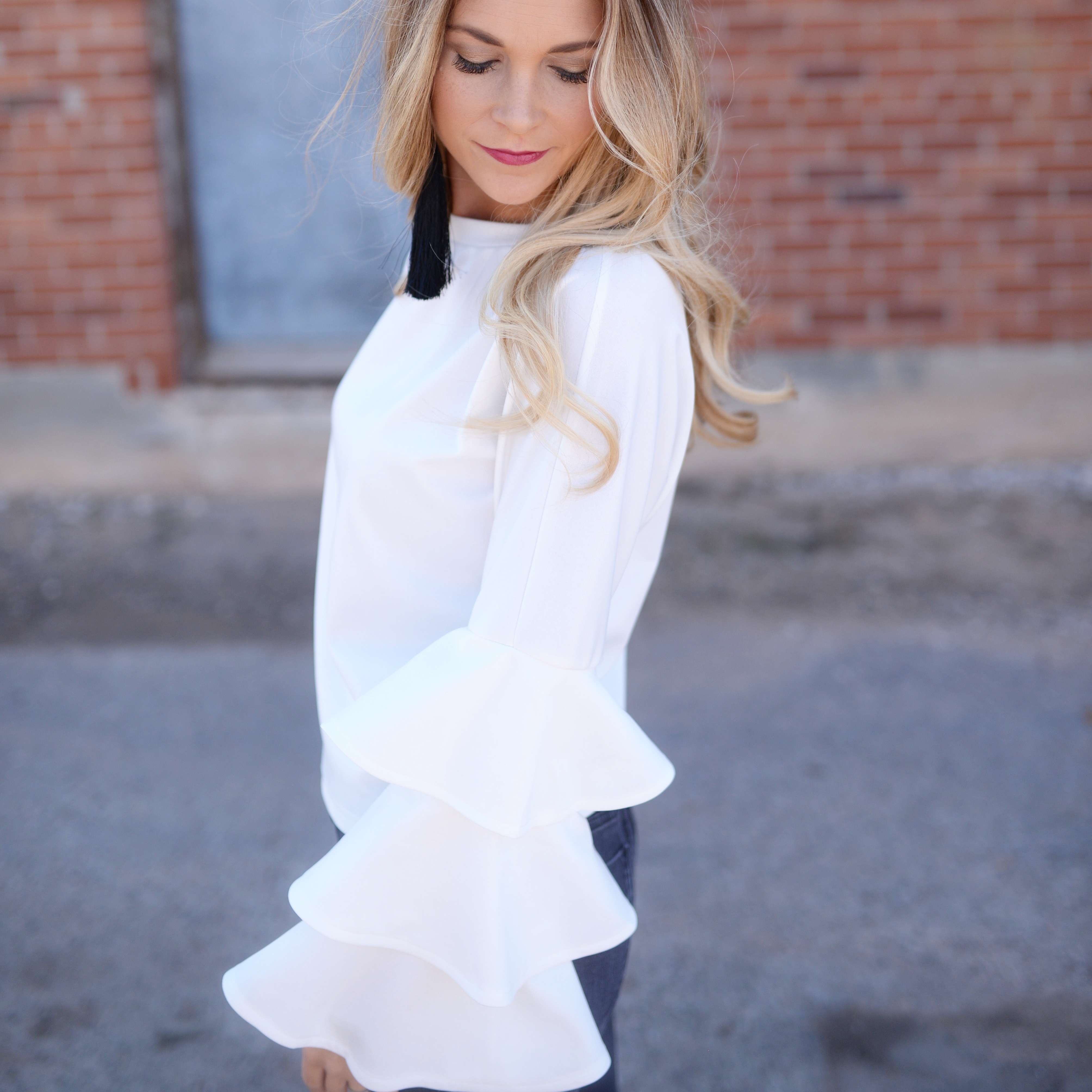 white bell sleeve top fall fashion