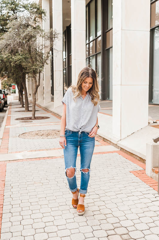 madewell central stripe shirt styled two different ways