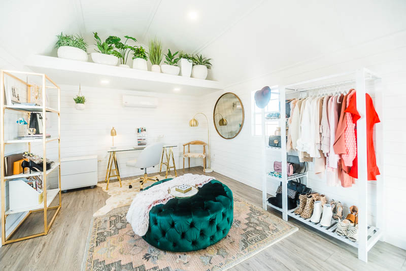 she shed home office pink and emerald decor joss and main
