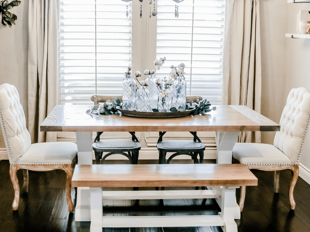 Farmhouse Style Light & Airy Kitchen Makeover Breakfast Nook Dining Area