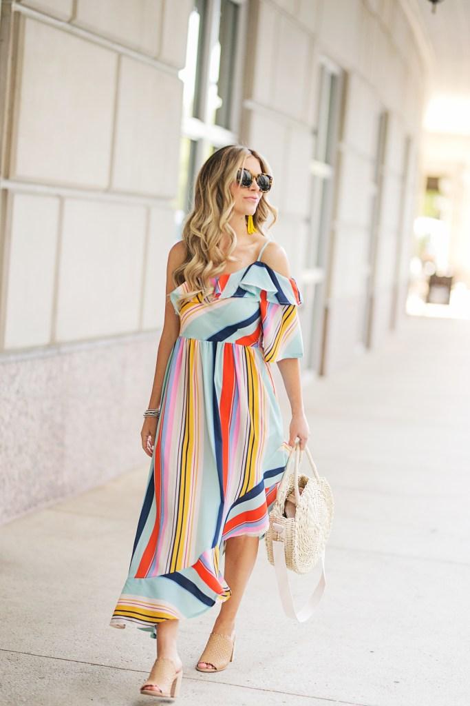 ASOS Boohoo Bold Stripe Midi Dress