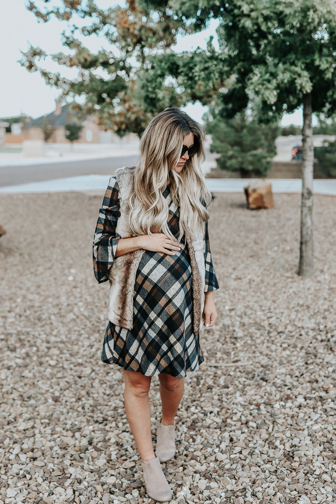Jessica Howard 3/4 Bell Sleeve Plaid A-Line Dress - JCPenney