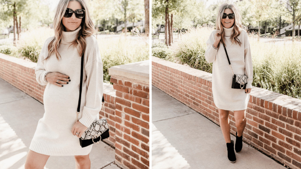 White Sweater Dress for Fall