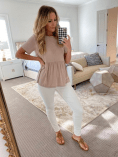 Cute babydoll tee + the best white jeans!