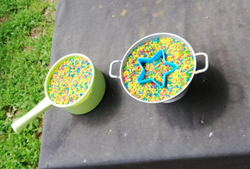 Coloured rice for messy play