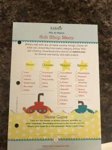 Kids Stir Sub Shop Menu littlemissblog.com
