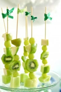 Heathly Fruit Skewers Snacks for St Patricks Day littlemissblog.com