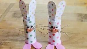 Toilet Roll Bunnies Fun Crafts using toilet paper rolls littlemissblog.com