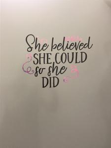 She believed she could Vinyl bathroom quote