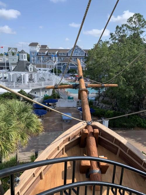 View from Waterslide Stairs at Disneys Beach Club Resort, Wrecked boat