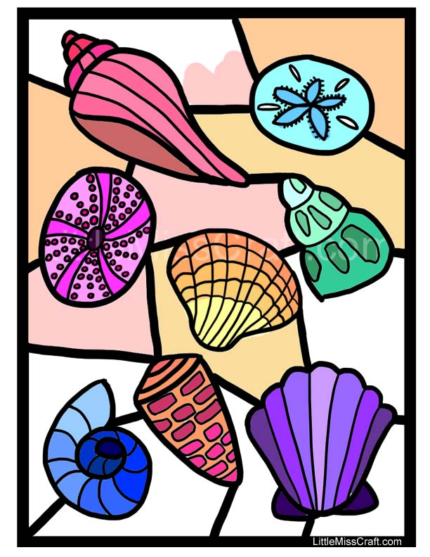 crafts seashell stained glass coloring page