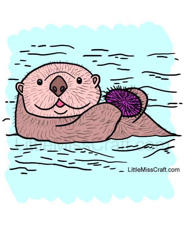 crafts sea otter and sea urchin coloring page