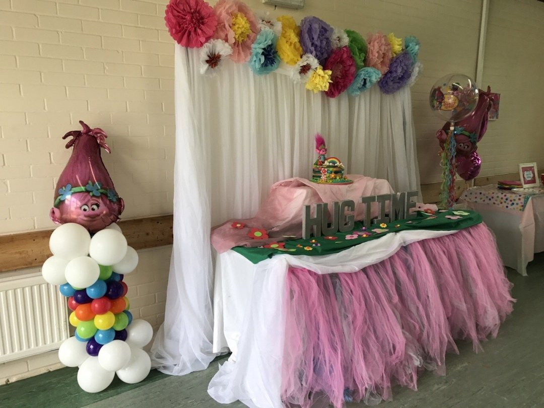 Trolls Party cake display table