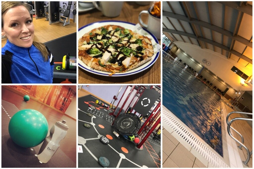 A collage of images at David LLoyd, swimming pool, a flatbread, gym equipment and studio