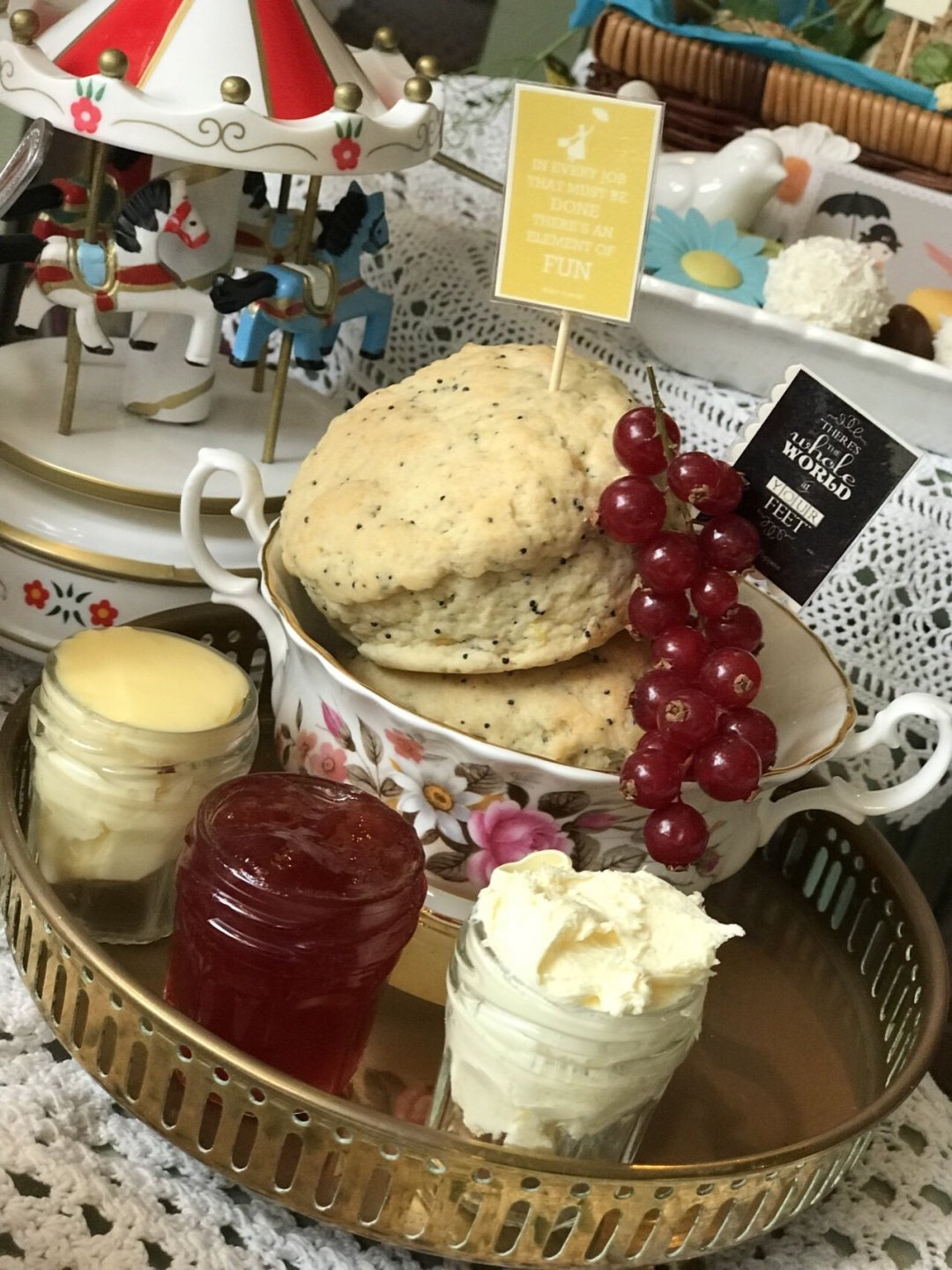 Scones and jam Mary Poppins Themed Afternoon Tea