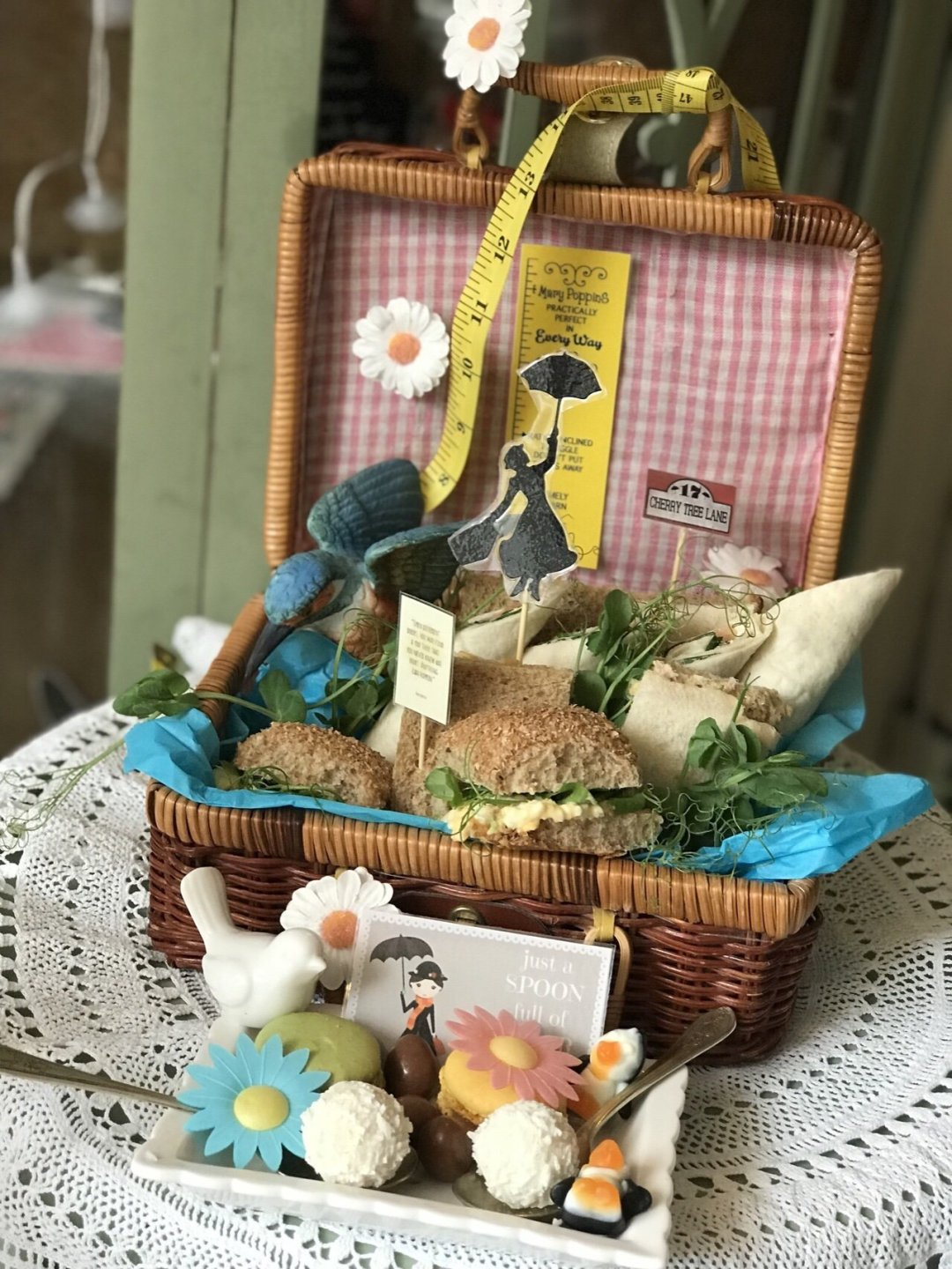 Mary Poppins Themed Afternoon Tea sandwiches in picnic basket