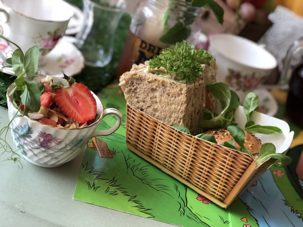 sandwiches and tea cup salad Silly Old Bear Themed Afternoon Tea