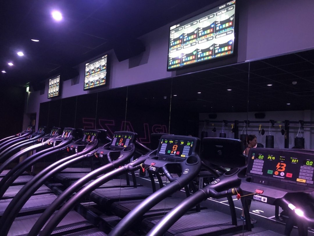 Treadmills and screens at David Lloyd Blaze