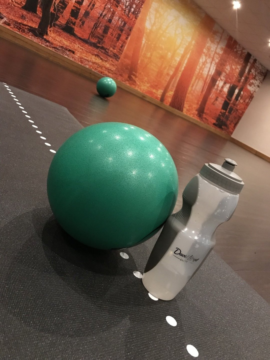 Fitness studio with fitness ball and water bottle, keep motivated at the gym