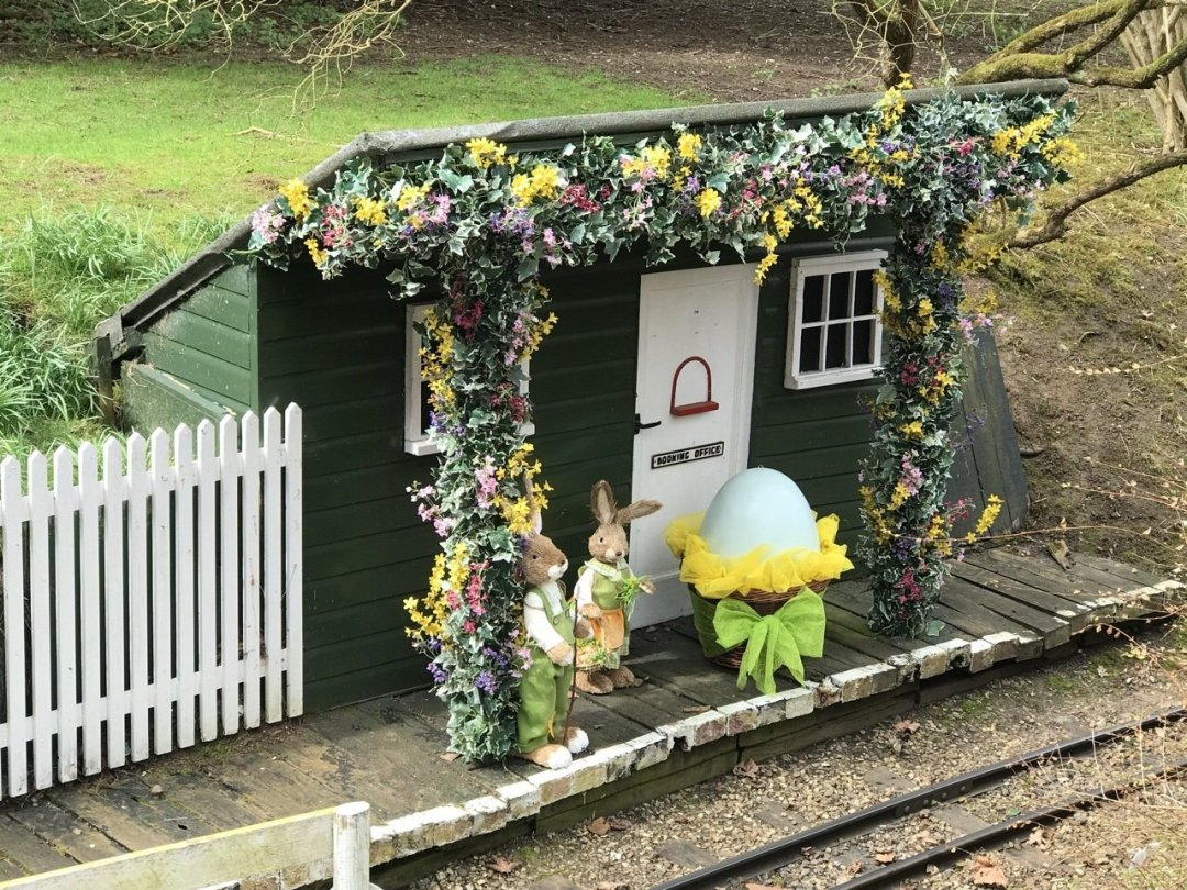Easter Train at Audley End. The halt station decorated for Easter