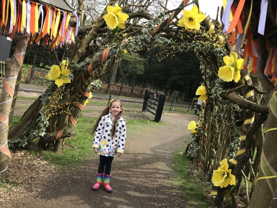 Floral archway decorated with daffodils, Easter Train at Audley End