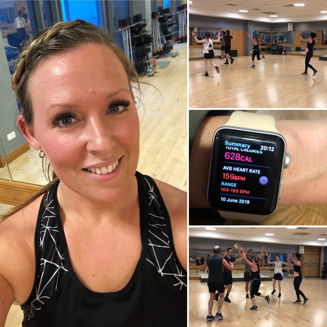 BodyAttack workout, my red face, 628 calories burned and group shot
