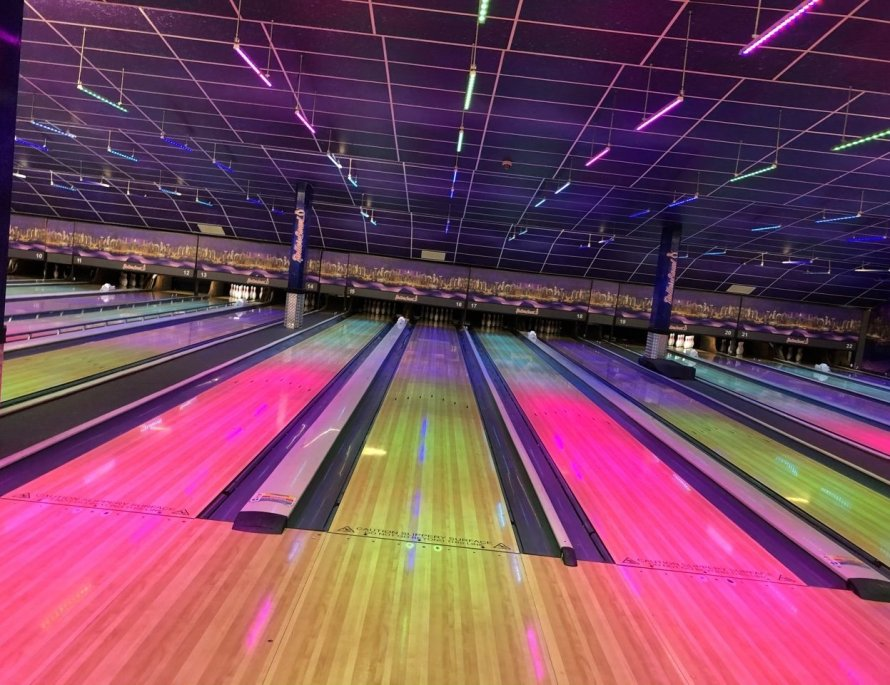 Bowling at Rollerbowl, rainbow lit lanes