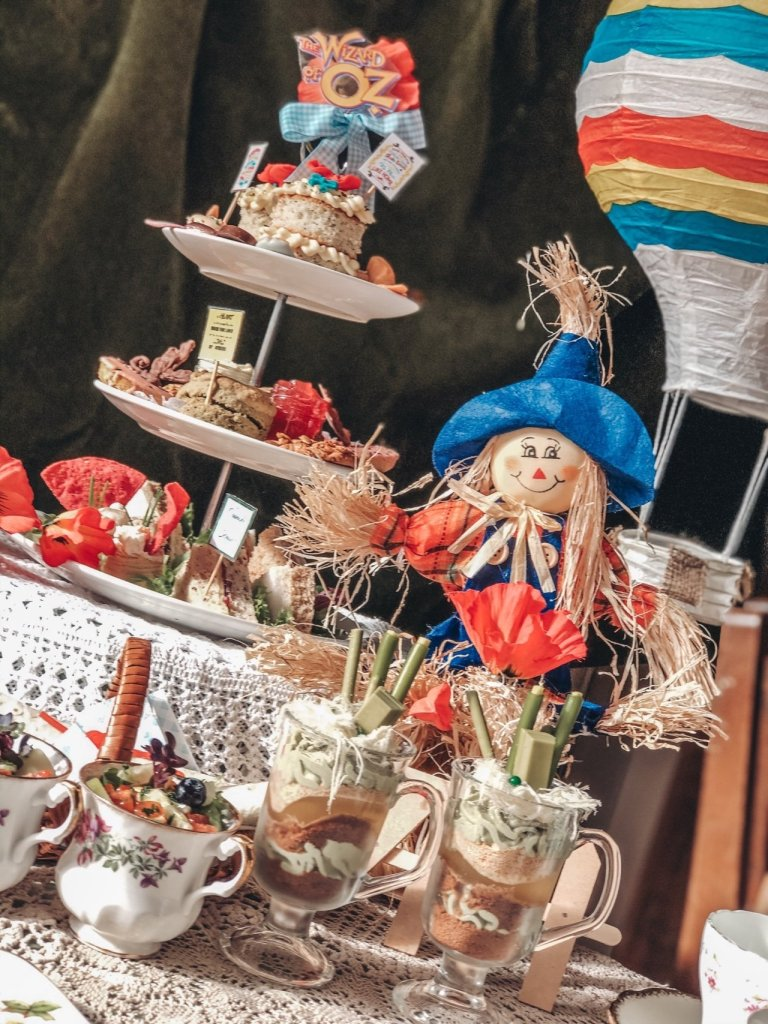 Wizard of Oz Afternoon tea with scarecrow and cakestand
