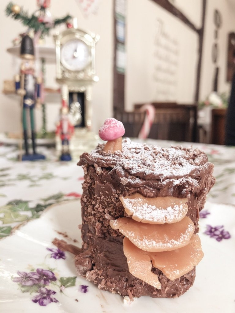 Chocolate and gingerbread Yule log nutcracker Afternoon tea