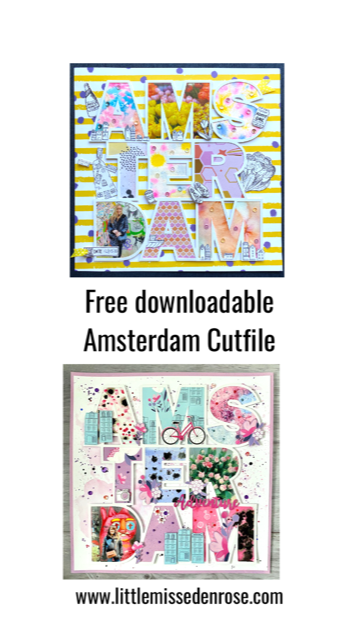 Amsterdam Cut file for scrapbook page png file. Free downloadable file to creat your own scrapbook page.