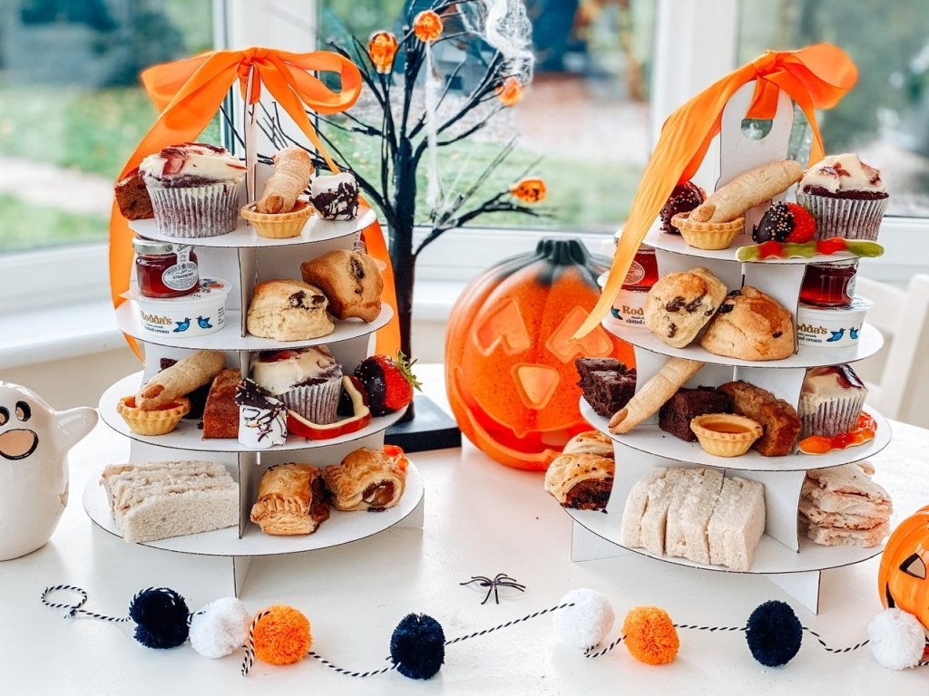 Halloween afternoon tea delivery in Essex. Cake stands from The Party Kitchen