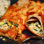 Chicken and Spinach Enchiladas in baking pan