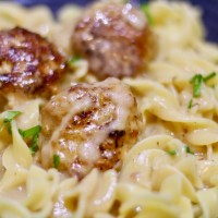 Meatballs Marsala with Egg Noodles & Chives