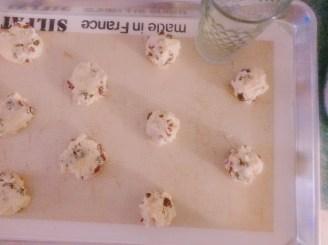 Baking sheet of unbaked cookies