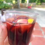 Cup filled with Pomegranate Sangria