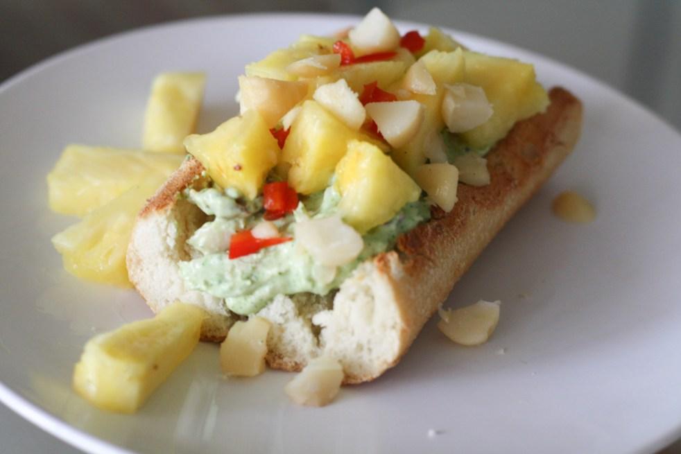 Hawaiian Chicken Salad Sandwich served on a white plate