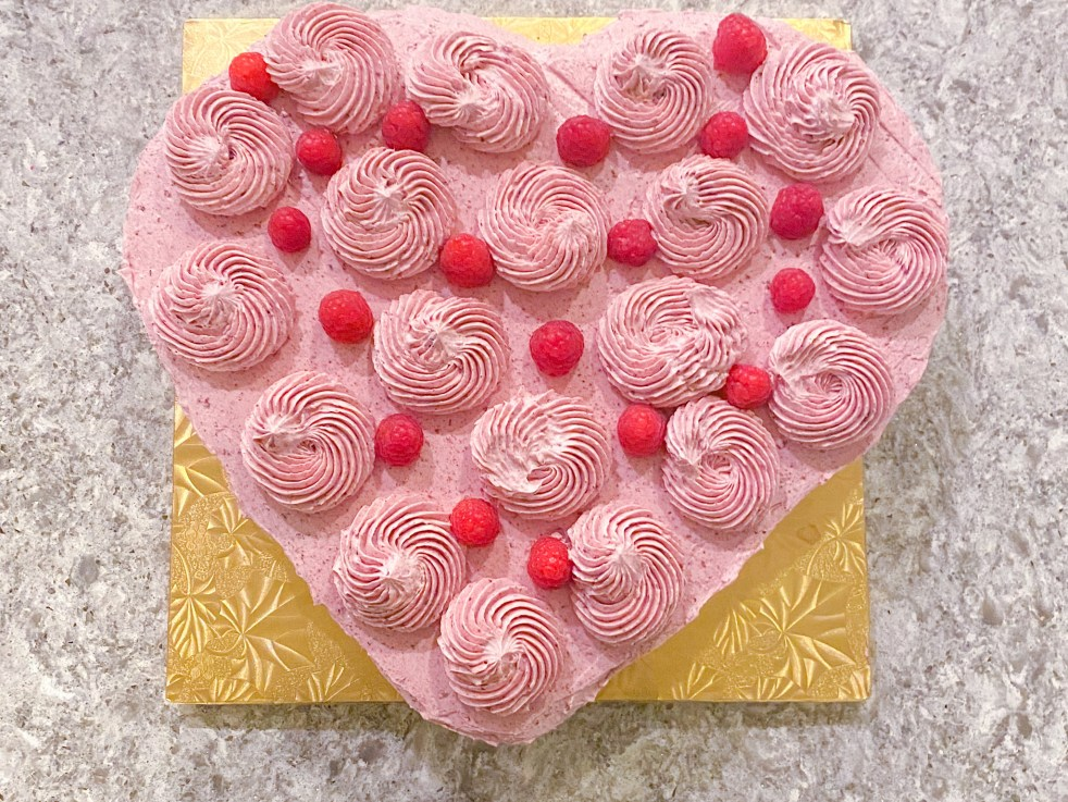 Assembled Chocolate Raspberry Heart Cake