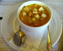 Large Festive Fish Soup with Vegetables and Fried White Bread Cubes
