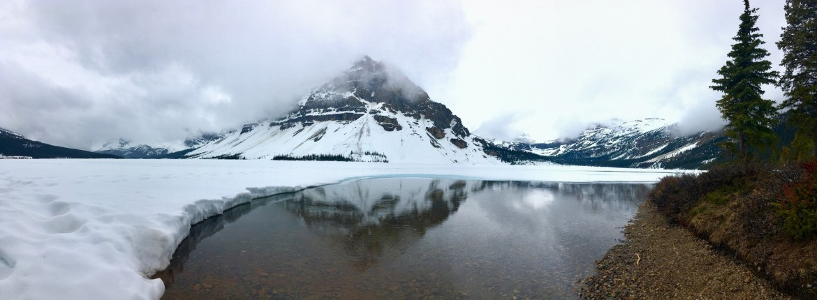 Ice-covered Bow Lake in May 2017