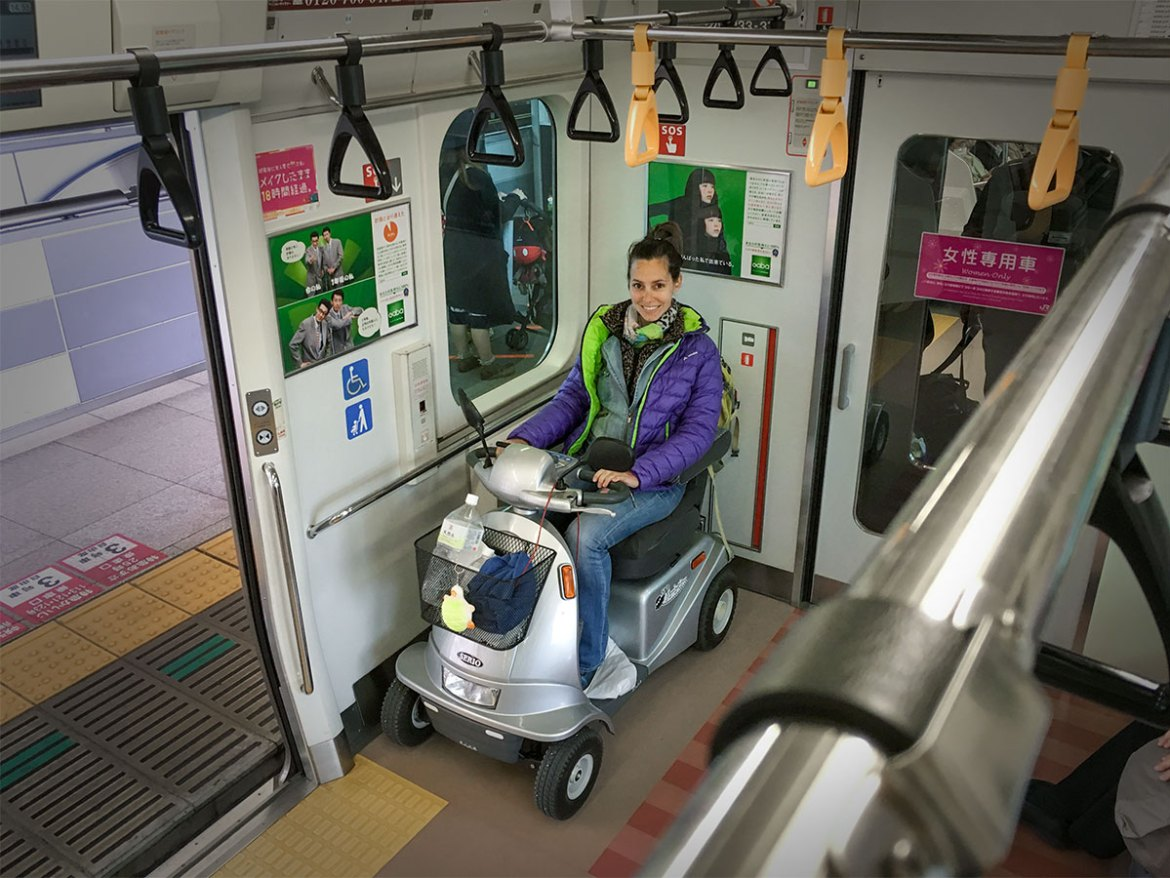 Riding a JR line in Tokyo on my rented mobility scooter