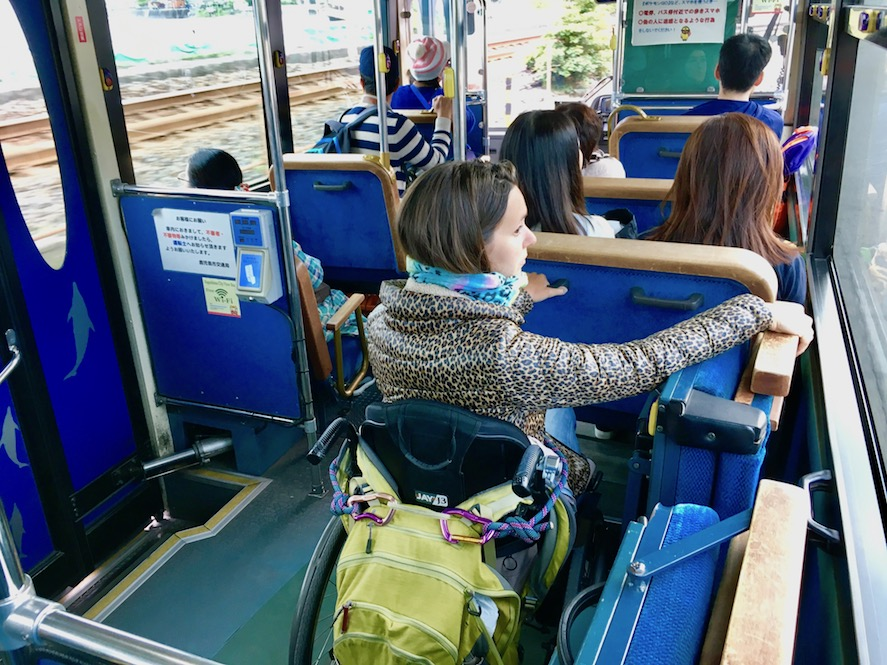 Wheelchair seat Kagoshima City View Bus | Little Miss Turtle