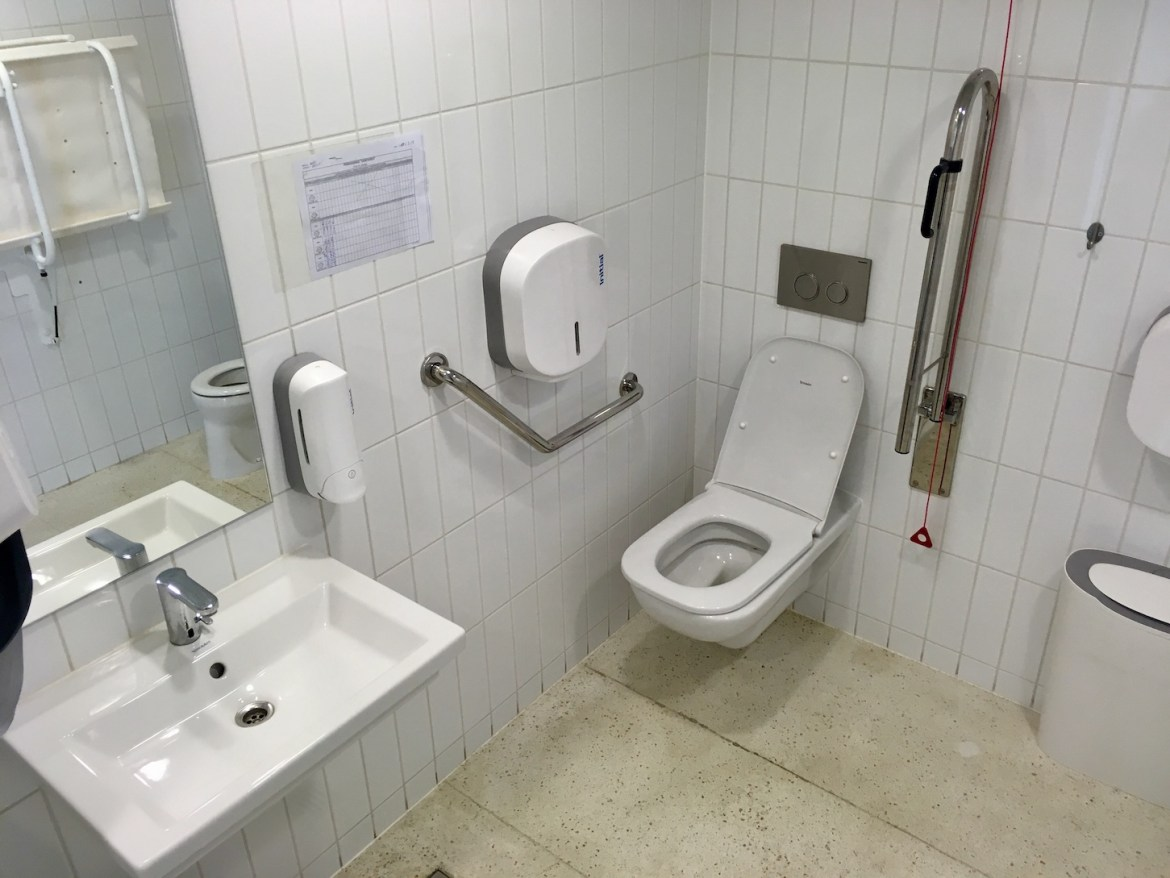 Accessible bathroom with changing table at the House of European History in Brussels | Little Miss Turtle | Accessible Travel Blog